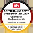 """Vielen Dank für den Gesamtsieg bei """"Deutschlands Beste Online Portale 2020""""."""