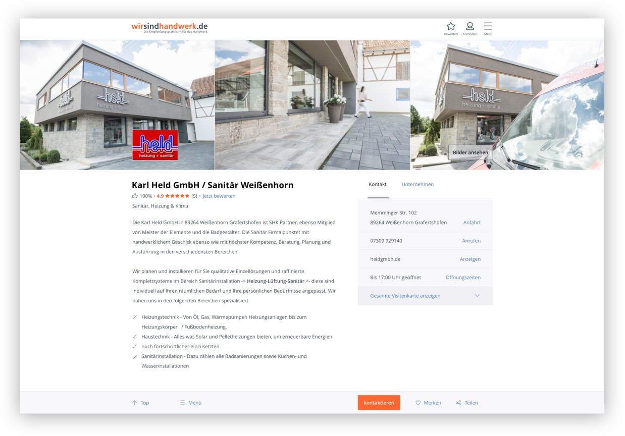 Profil Ihre digitale Referenzmappe