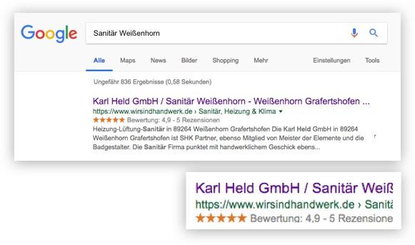 Google Sterne Ihre Qualität in den Google-Suchergebnissen